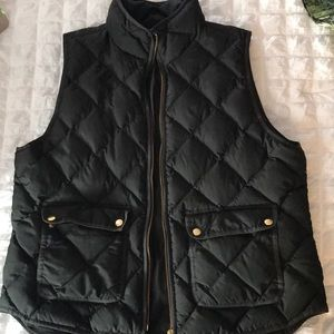 J. Crew Quilted Vest with gold zipper